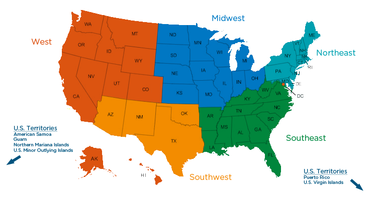 Regions Of The United States For Kids LC G Schedule Map USA - 5 us regions map